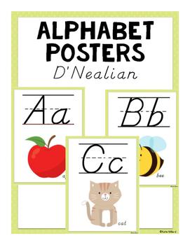 ABC Posters (D'Nealian) - Green
