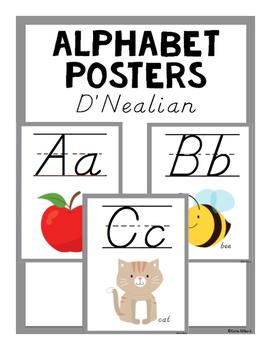 ABC Posters (D'Nealian) - Gray