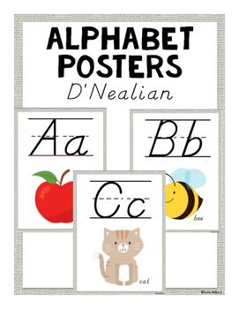 ABC Posters (D'Nealian) - Light Burlap