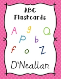 ABC Posters & Flash Cards with Pictures, Letters, and Words D'Nealian Polka Dot