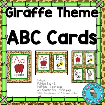 ABC Posters- Giraffe Theme with Giraffe  Print