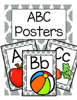 ABC Posters (Gray Quatrefoil)