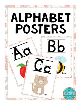 ABC Posters (Lined) - Peach & Gray Floral