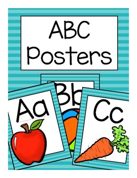 ABC Posters (Teal Stripes)