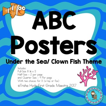ABC Posters- Under the Sea Clown Fish  Theme Alphabet Cards 3 Sizes