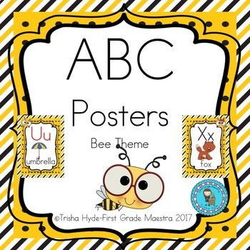 ABC Posters- Yellow and Black Bee Theme