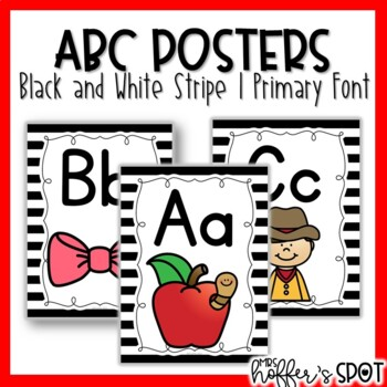 ABC Posters with Pictures {Black and White Strippe with Primary Font}