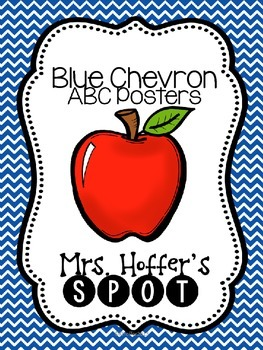 ABC Posters with Pictures {Blue Chevron and Fancy Font}