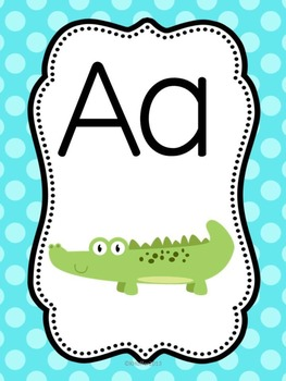 ABC Posters with Zoo Animals {Bright Polka Dots)
