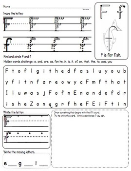 ABC Practice Pages A through Z (Upper and Lowercase) Differentiated