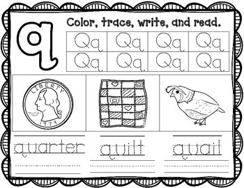 Alphabet Practice Pages:  Color, Trace, Write, and Read Worksheets