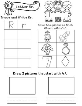 ABC Practice Pages:  Tracing, Writing, Initial Sound, and Illustrating
