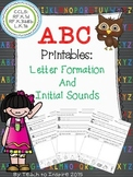 ABC Printables: Letter Formation and Initial Sounds Sort