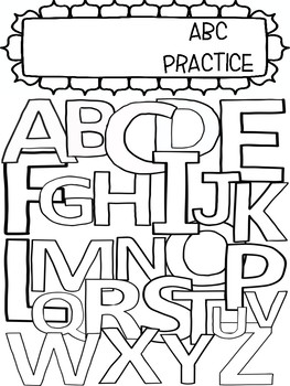 ABC Printing Practice and Coloring Book