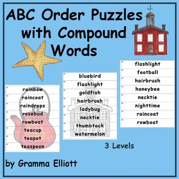 ABC Order Puzzles with Compound Words in Color and BW