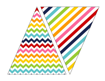 ABC Rainbow Bright Printable Banner Stripes, Chevrons, and Polka Dots