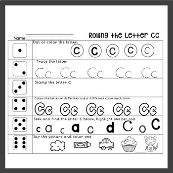 Alphabet Worksheets Roll the Dice