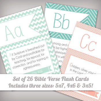 ABC Scripture Bible Verse Memory Flash Cards for Kids -  3x5, 4x6 & 5x7 Sizes!
