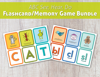 ABC See, Hear, Do Flashcard/Memory Game Bundle
