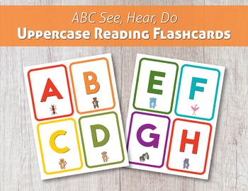 ABC See, Hear, Do Uppercase Reading Flashcards