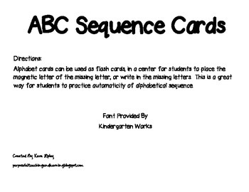 ABC Sequence Cards