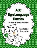 ABC Sign Language Puzzles *Color & Black/White