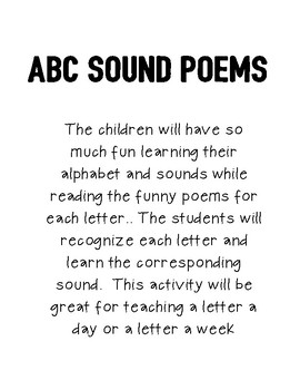ABC Sound and Letter Recognition Poem Book