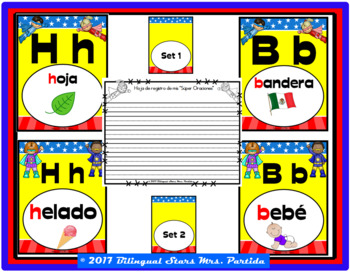 """ABC Spanish Posters  and a Center"""" Super Heroes"""" version  two sets"""