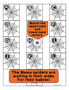 ABC Spider Themed File Folder Activity - Match Uppercase and Lowercase Letters