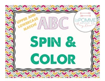 ABC Spin & Color Literacy Activity Lowercase Uppercase Alp