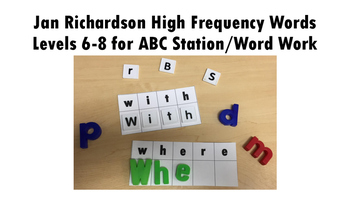 ABC Station/Word Work Jan Richardson High Frequency Words Levels 6-8