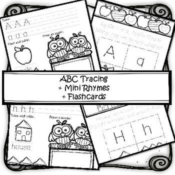 ABC Tracing + Mini Rhymes +Flashcards