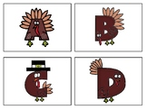 ABC Turkeys Printable Letter Cards