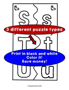 ABC Uppercase and Lowercase Letter Puzzles - With File Folder Game Directions