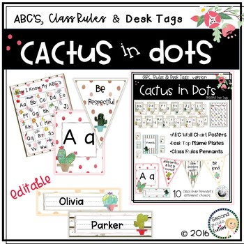 ABC Wall Charts, Desk Name Tags, Class Rules Cactus in Dots Classroom Decor