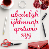 ABC Watercolor Letters - Red Calligraphy Font