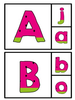 ABC Watermelon Clip Cards-Upper Case to Lower Case Letters