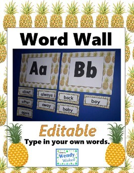Pineapple ABC Word Wall Labels & Ten Frames - EDITABLE Decor
