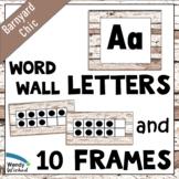 ABC Word Wall Labels & Ten Frames for Farmhouse Shiplap Decor - EDITABLE