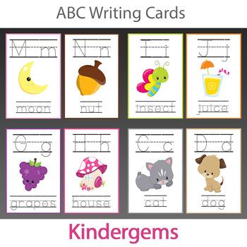 ABC Writing Cards Instant Download PDF; Preschool, Kindergarten, School