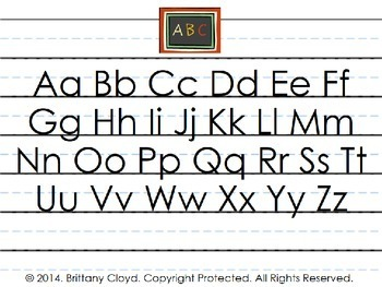 ABC Writing Letters Alphabet Exercise Flash Task Cards Reference Page