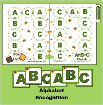 ABC You at the Finish Line Board Game-  Folder Alphabet Recognition game for ABC