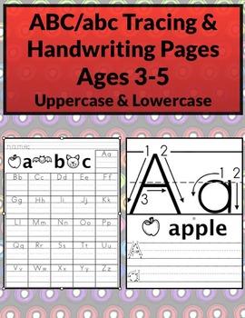 ABC/abc Tracing & Handwriting Worksheets B&W (Priscilla Be