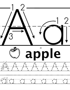 ABC/abc Tracing Worksheets B&W (Priscilla Beth @DaycareSupport)