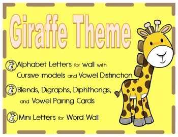 Cursive word wall, yellow and brown mini word wall includes digraphs and blends