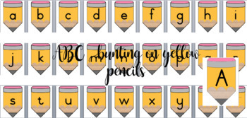 ABC and 1 - 10 Yellow Pencil Bunting
