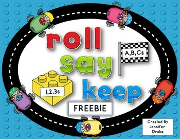 ABC and 123 Roll, Say, Keep FREEBIE!  Building Blocks & Race Track Fun!