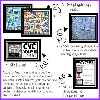ABC and CVC Playdough Mat GROWING Bundle