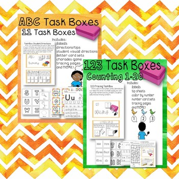 ABC and Counting 1-20 Numbers Task Box Bundle