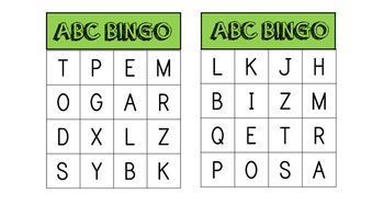 ABC and Site word Bingo